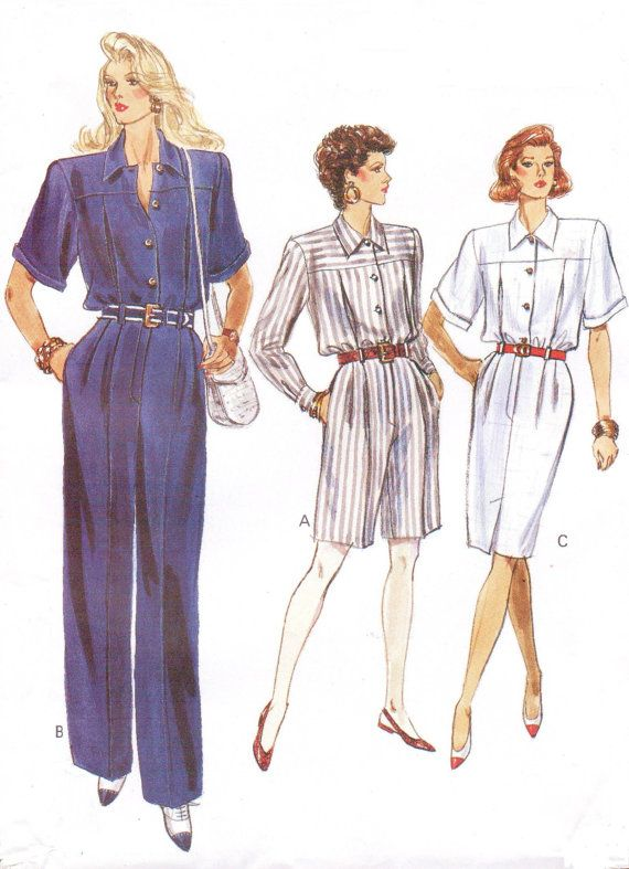 1980s Womens Jumpsuit in 2 Lengths or Dress Vogue Sewing Pattern ...