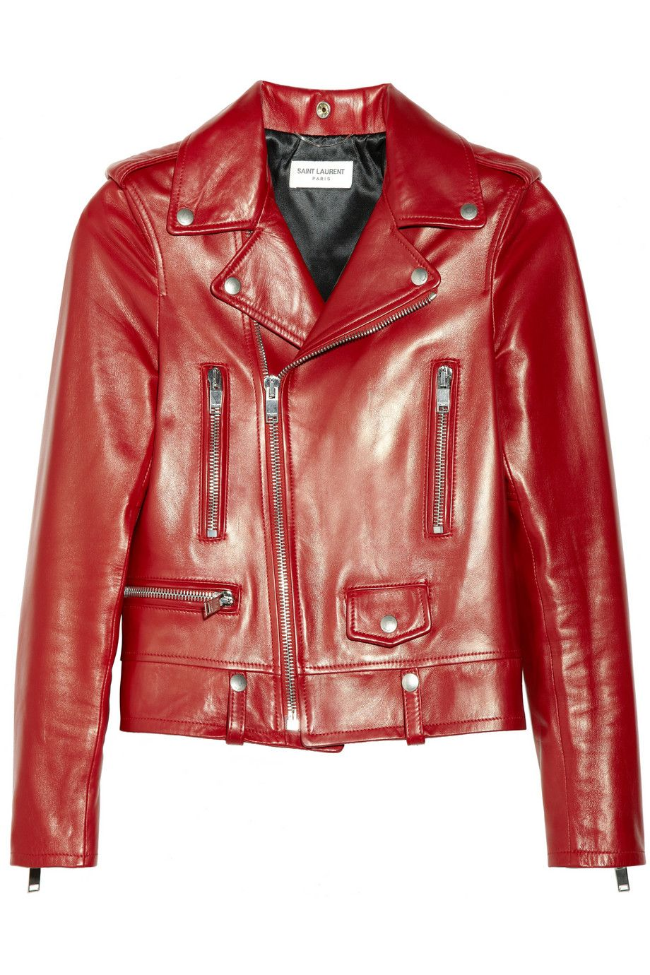 Saint Laurent - Red Leather Biker Jacket - Lyst