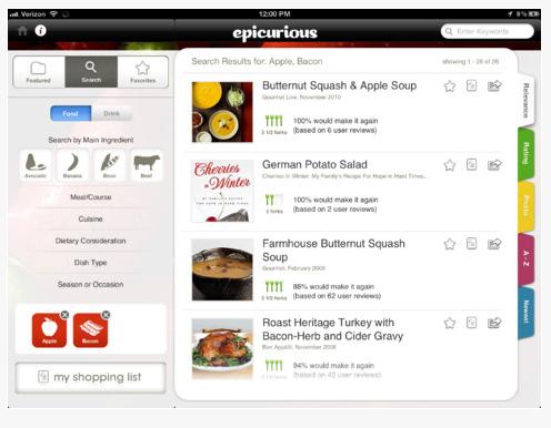 Application - Ipad - Epicurious - critères de recherche avancée par type de plat, d'ingrédients, de régime alimentaire....