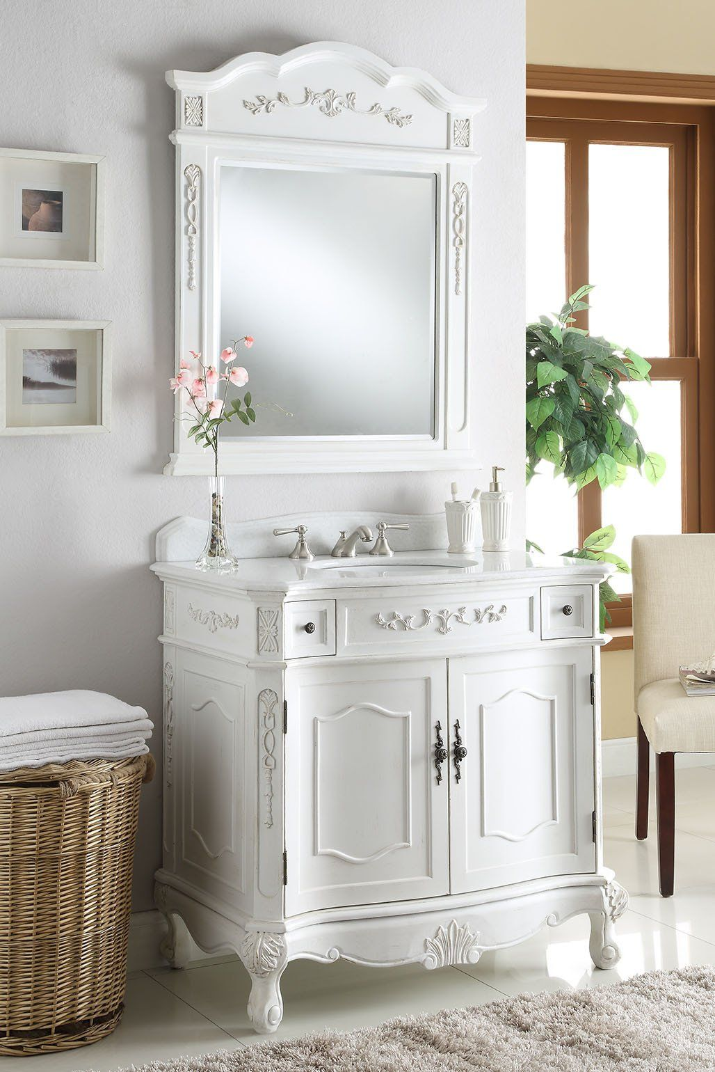 Chans Furniture 36 Classic Style Antique White Fairmont