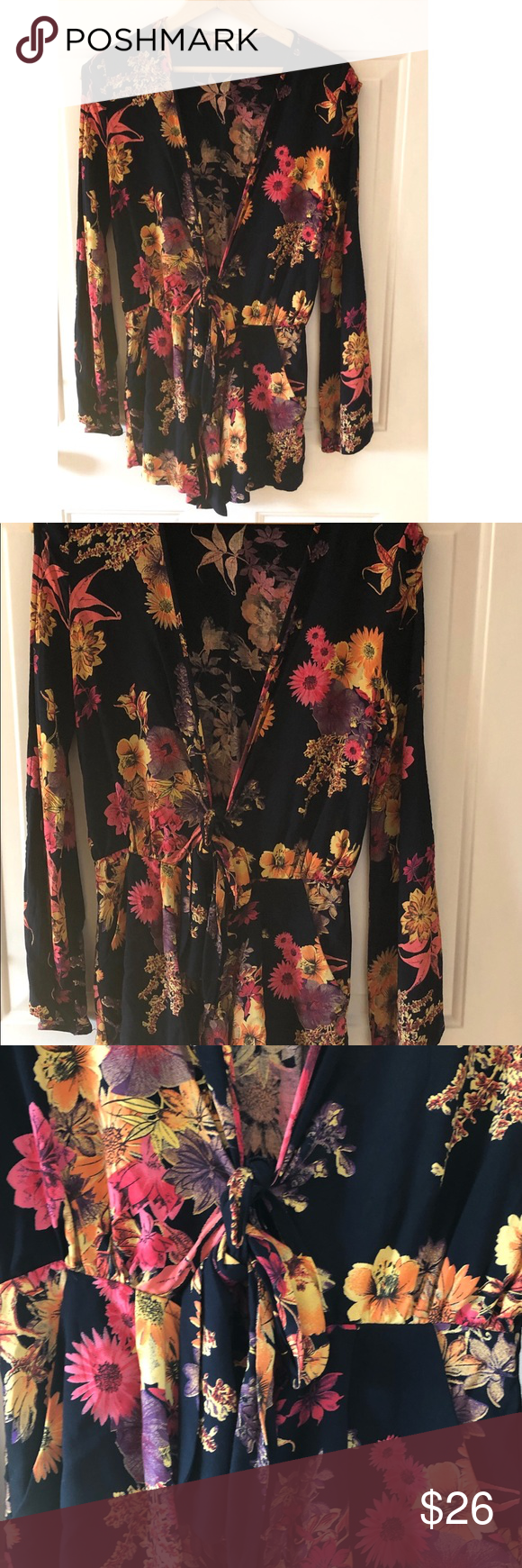 0326c3b577369c Anthropologie Fig & Flower BOHO 1X Floral Popover BOHO Fig & Flower size  Plus size 1X, contrasting Aztec print at the cuffs and back …