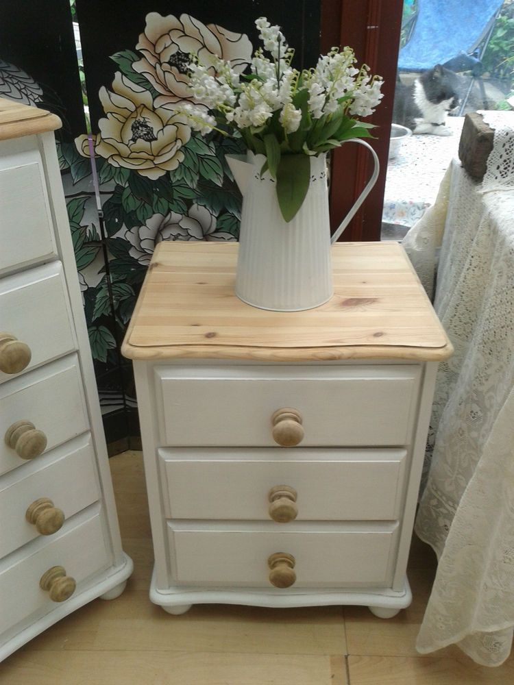 Lovely Shabby Chic Pine Bedside 3 Draw Chest Painted White Natural Waxed