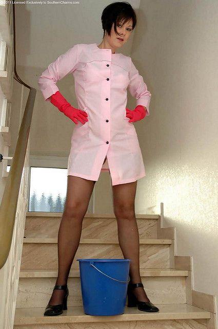 une jolie blouse rose femme m nage tablier blouse blouse nylon tablier. Black Bedroom Furniture Sets. Home Design Ideas