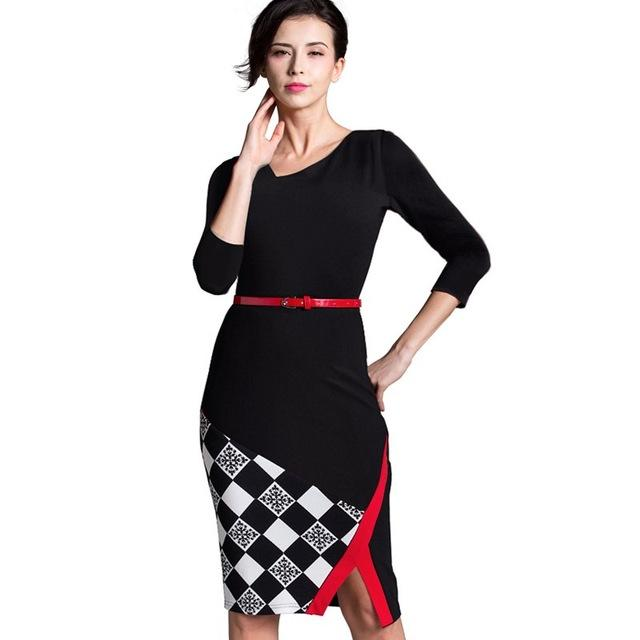 6e7b7ae3ed Summer Women Formal Work Knee-Length Belted Black Grid Casual Office  Business Bodycon Elegant Pencil Dresses B290