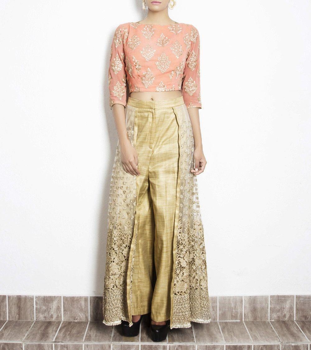 18f0486e6a7f0 Peach Georgette Embroidered Lehenga With Crop Top  dresses  fusionwear   lehengas  kurtis