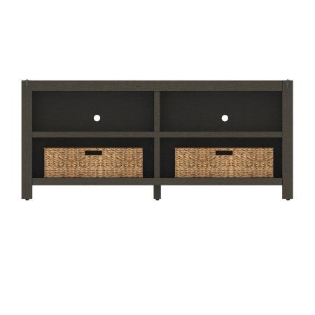 Poplar Grove Umber Oak Tv Stand For Tvs Up To 60 Inch With Baskets