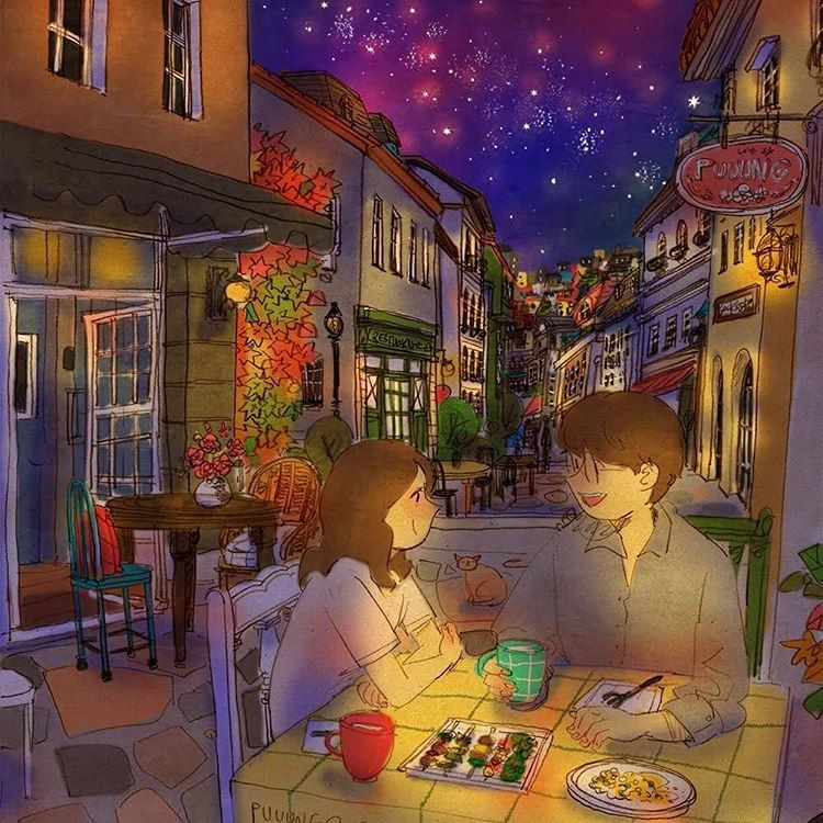 Late night. We had a simple late night snack at some restaurant.  I was reeled in to your story.    See a full illustration : grafolio.com/works/212383