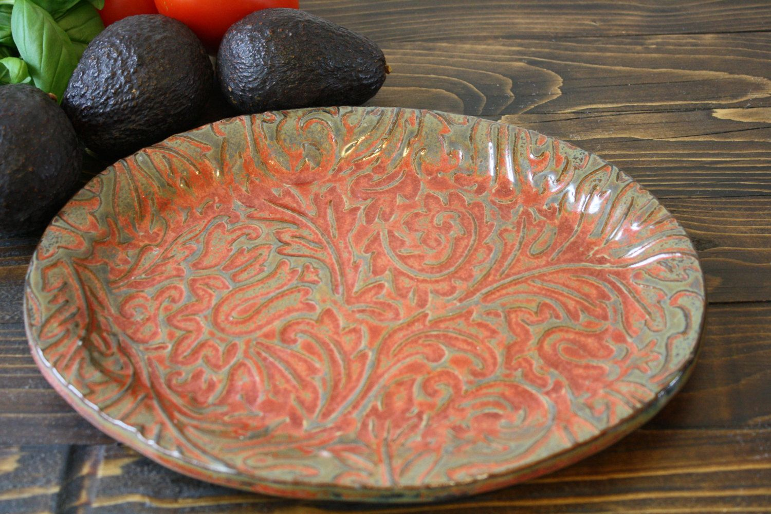 Unique Stoneware Pottery Tray Ceramic Serving Platter Oval Pottery