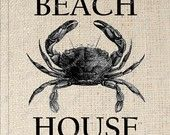 Crab Beach House Digital Download for Iron on Transfer for pillow or sack