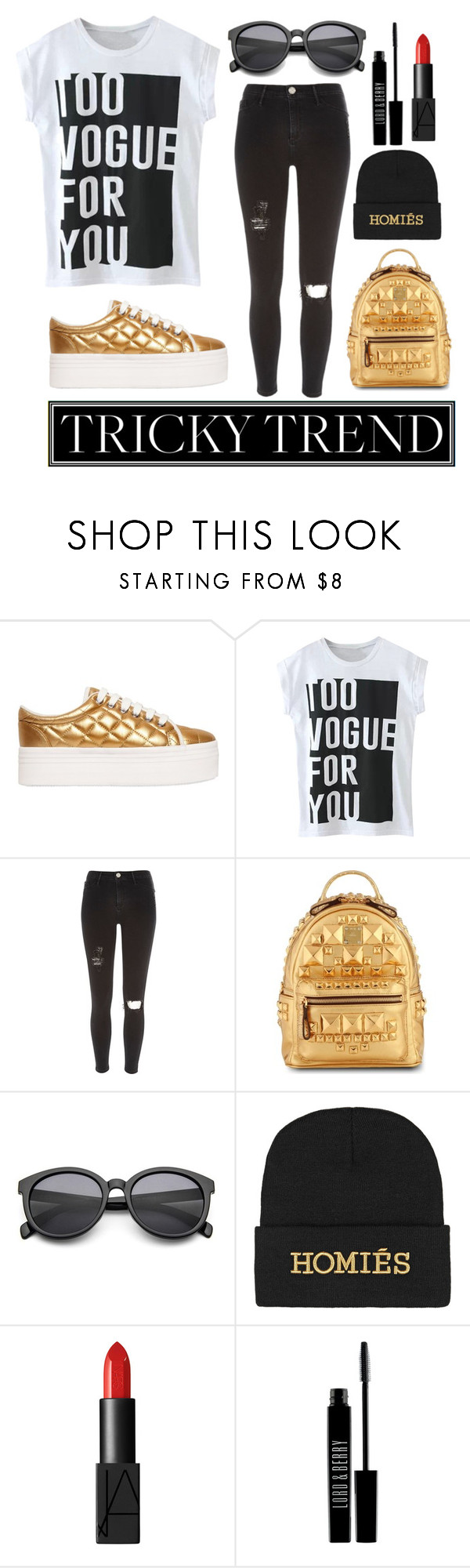 """""""Gold Vogue"""" by ethenknowsfashion ❤ liked on Polyvore featuring Jeffrey Campbell, River Island, MCM, Brian Lichtenberg, NARS Cosmetics, Lord & Berry, TrickyTrend, vogue and platformsneakers"""