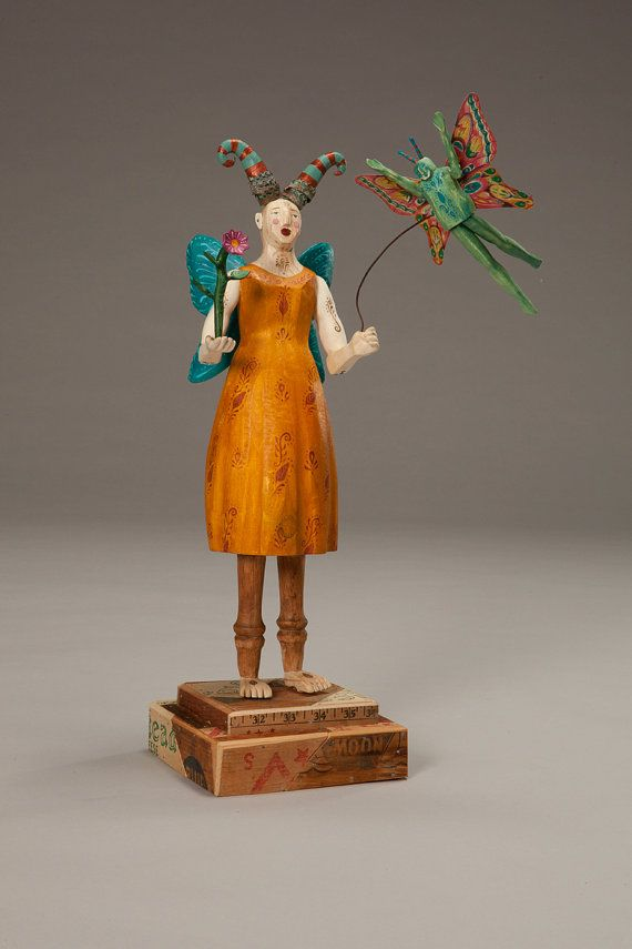 Butterfly Girl by Elizabeth Frank~ carved found aspen, vintage reclaimed wood, vintage tin, paint, wax
