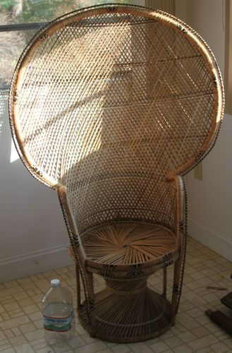 antique wicker chairs steel chair bd rattan peacock fan back vintage big 58 5 x 36 ebay