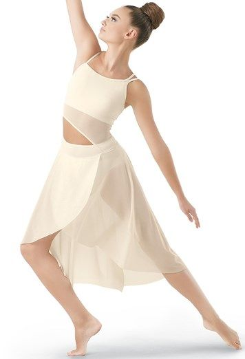 1168a3d4570922 Asymmetrical Mid-Length Mesh Dress | Balera™ | off-white lyrical dance  costume