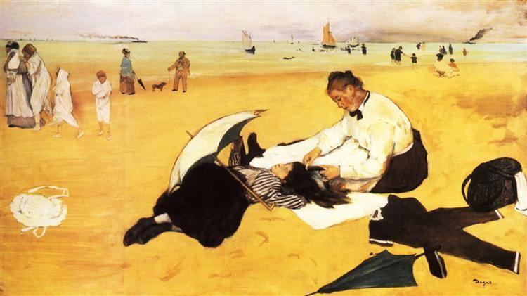 Beach Scene, 1877 by Edgar Degas. Impressionism. genre painting. National Gallery, London, UK