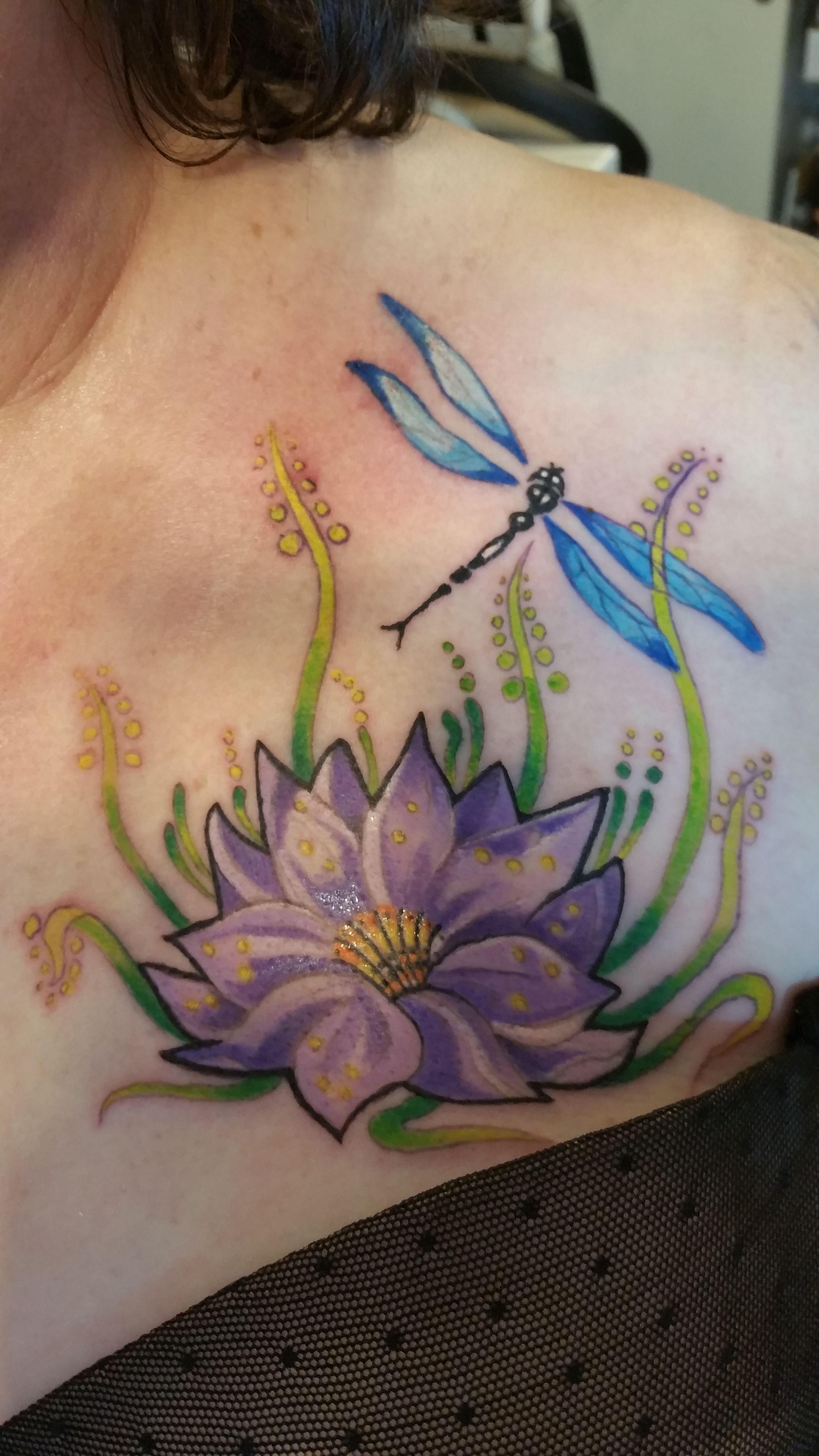 My Beautiful Purple Lotus Flower And Dragonfly Tattoo Its Rich