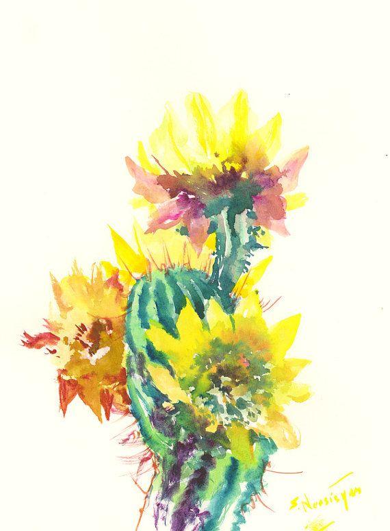 cACTI Cactus, Original watercolor painting, Arizona, cacti yellow ...