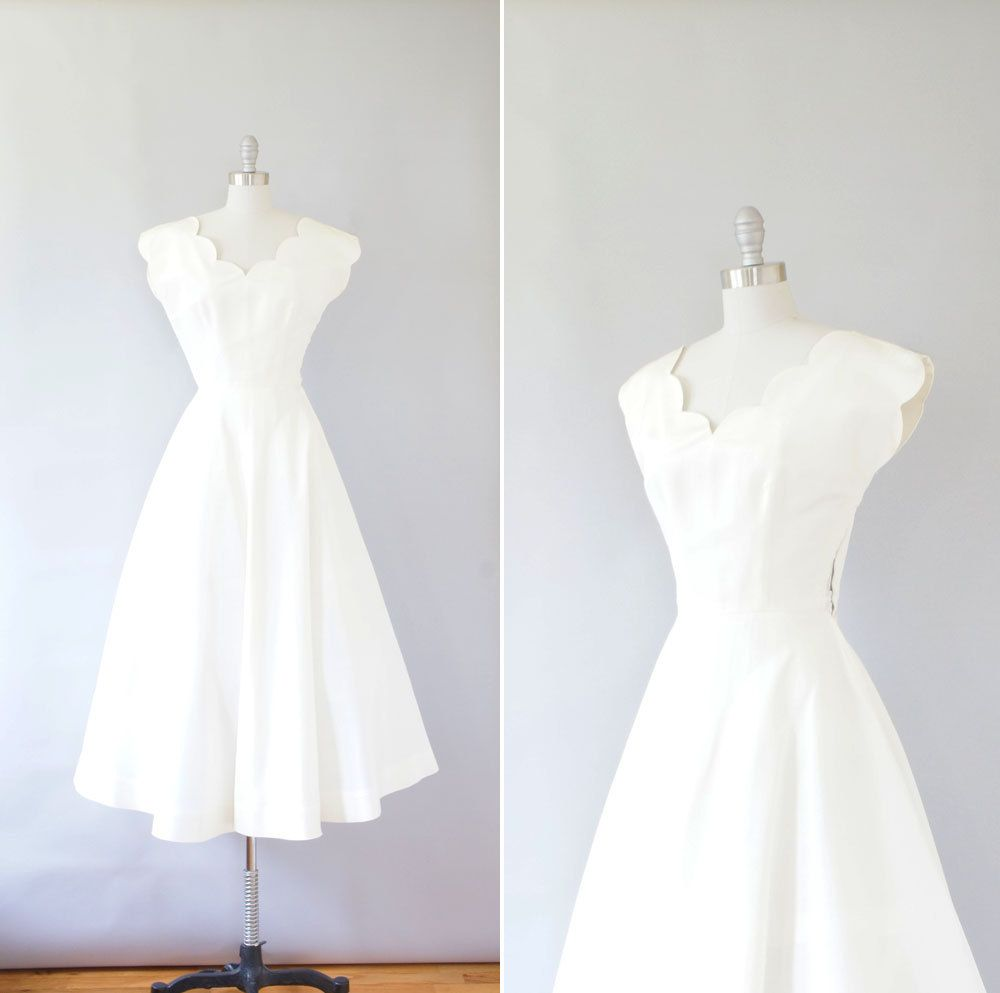 1940s dress / vintage 40s wedding dress / Ivory Scallop | 40s dress ...