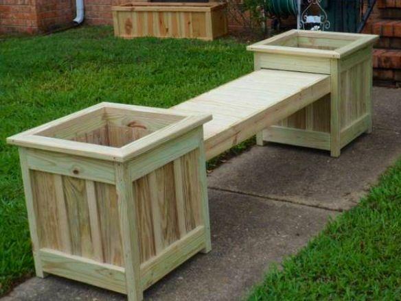 Diy Bench And Planter Combination Diy Outdoor Wooden Bench