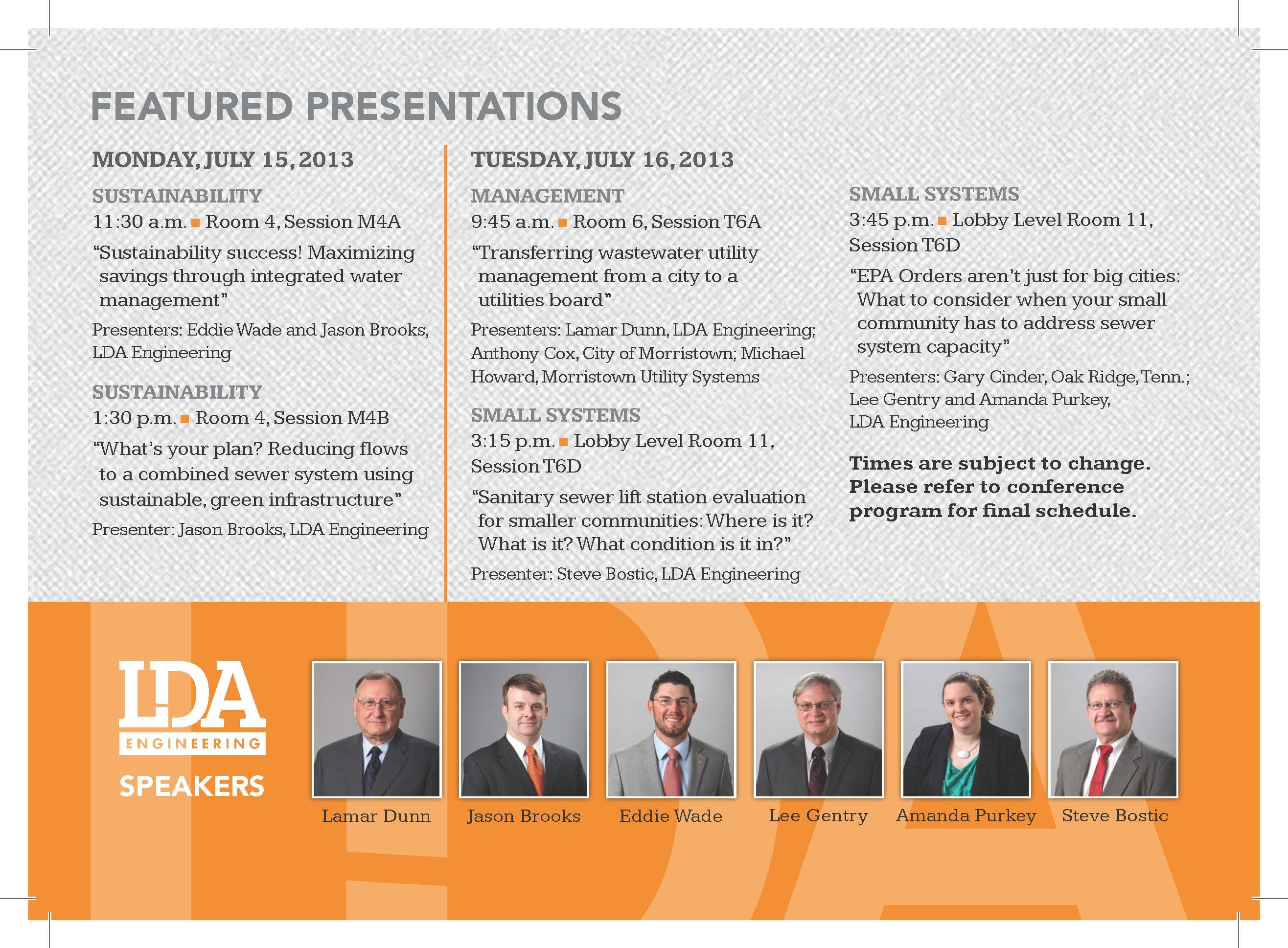The of the 2013 Water Professionals Conference welcome bag material.