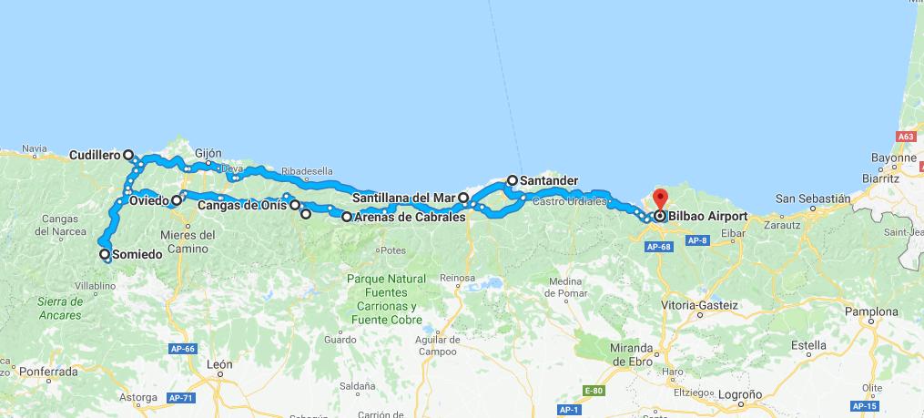 Mapa De Asturias Y Cantabria Juntos.Ruta Por El Norte De Espana Asturias Y Cantabria Pais