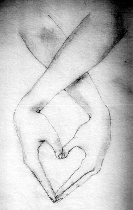 Hände Die Ein Herz Bilden Mit Bleistift Zeichnen Bleistift