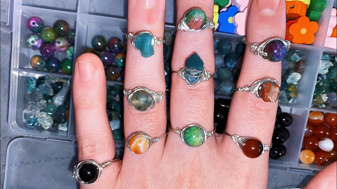 How To Make The Cool Rings From Tiktok At Home Wire Wrapped Rings In 2021 How To Make Rings Diy Crystal Rings Wire Wrapped Rings