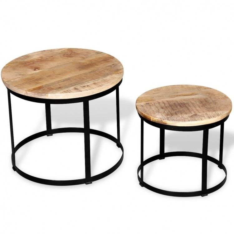 Small Metal Side Table Vintage Wood Round Coffee Tables Set