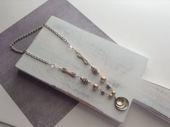 Steampunk Industrial Chic Gold and Silver Pendant Necklace on Etsy, $22.00