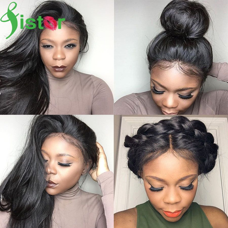 High Ponytail Glueless Full Lace Wigs With Baby Hair Silky Straight Brazilian Virgin Lace Front Human Hair Wigs For Black Woman