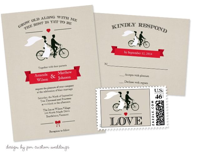 bicycle wedding invitations with matching rsvp cards and postage, Wedding invitations
