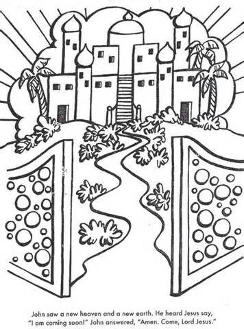 A New Heaven And Earth Bible Coloring Page For Kids To Learn Stories