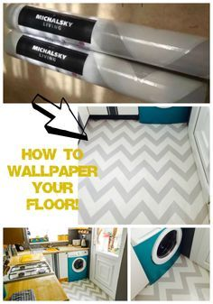 How I decoupaged my kitchen floor! Click here to see how I did it!