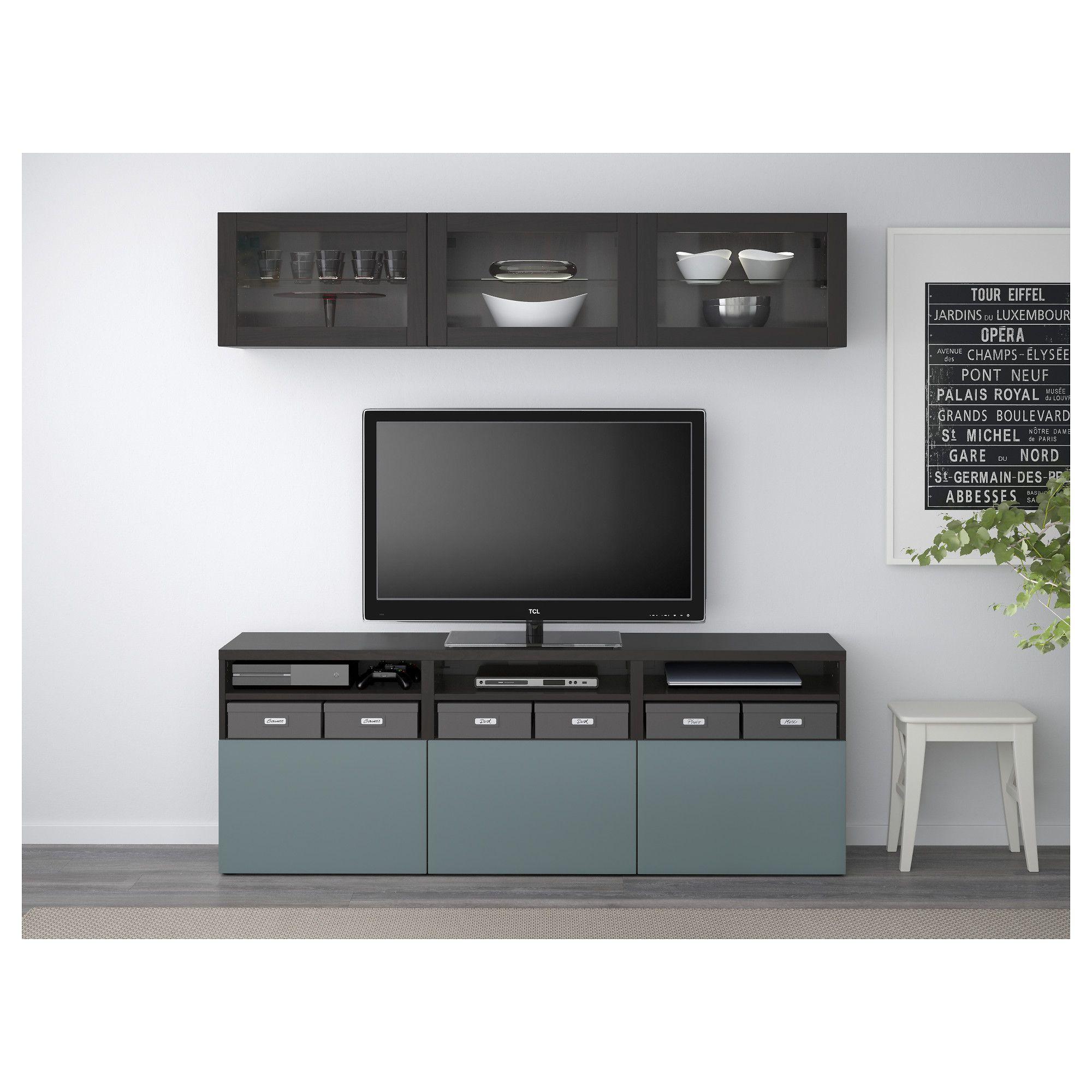 Best Tv Storage Combinationglass Doors Black Brown Valviken Gray