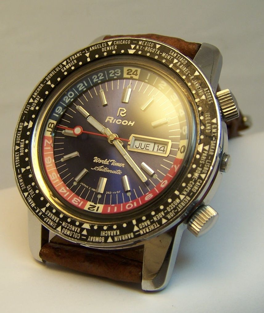7620b7a5b345 Reloj Ricoh World Timer 2 Biseles Giratorios Pepsi C service -   6.470