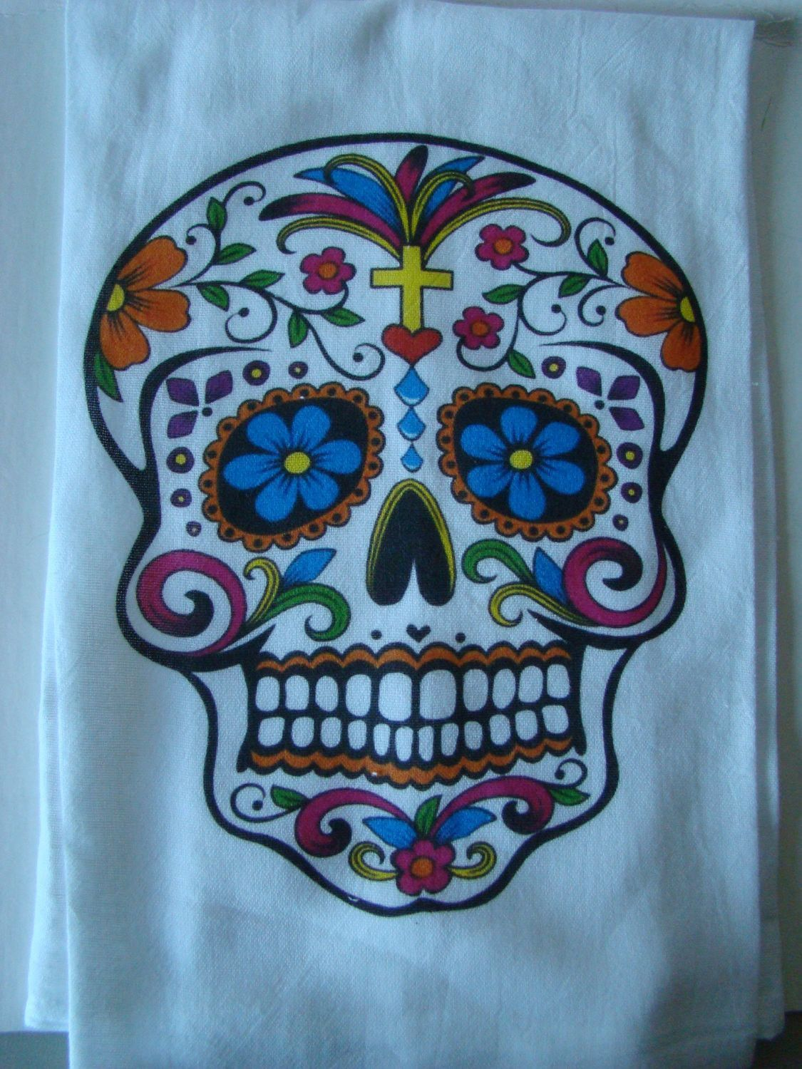 Sugar skull tea towel - Day of the Dead - kitchen towel - Tea towel ...