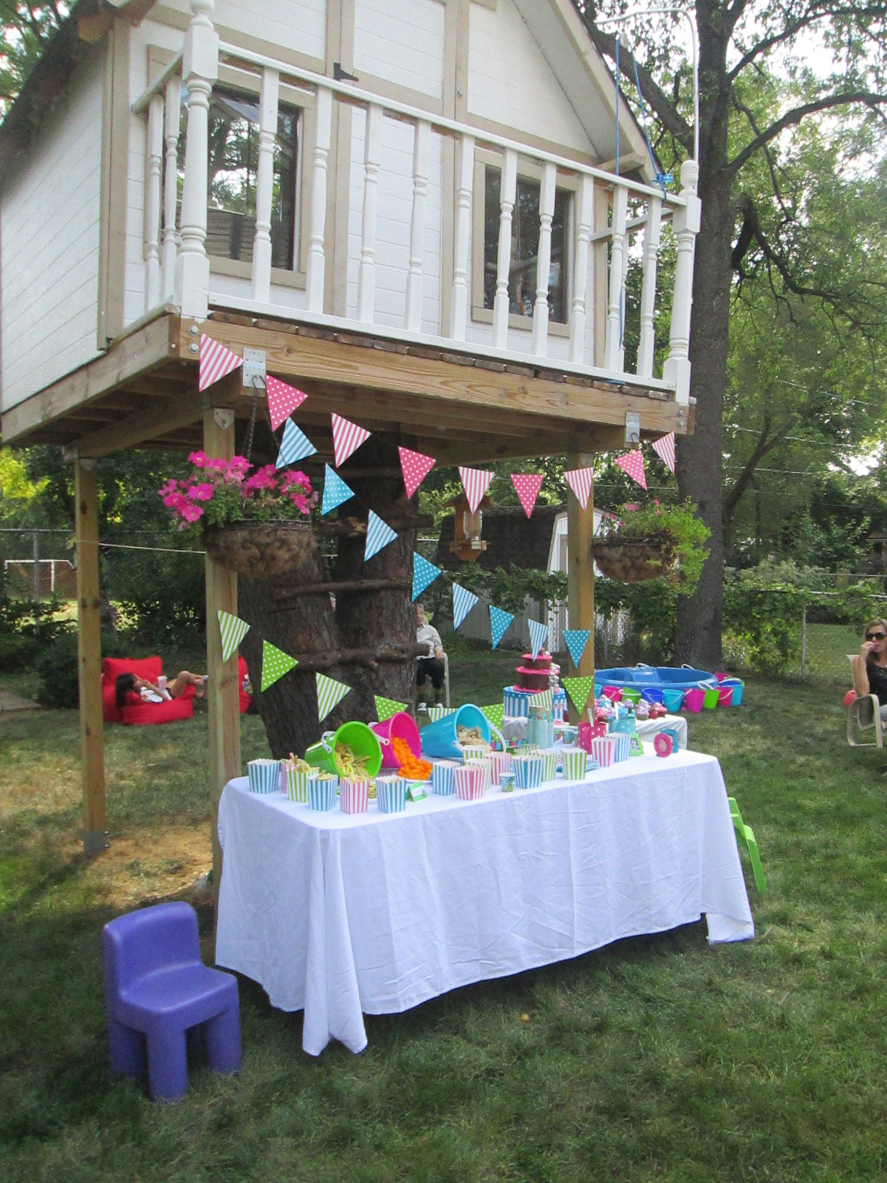 tree house with bubble party set up in our backyard bubble