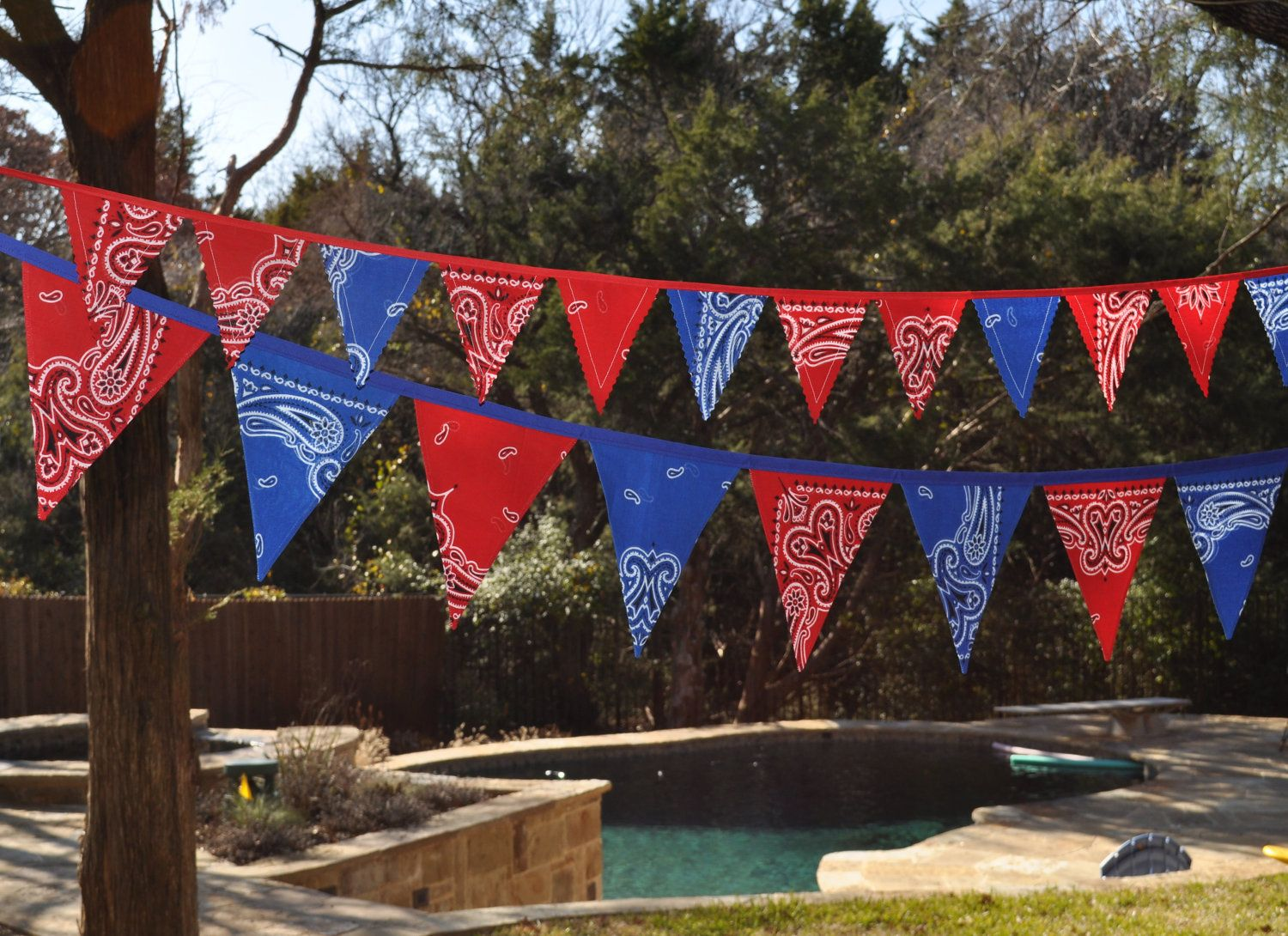 Blue & Red Bandana Banner Bunting, Western, Cowboy, Horse, Barn, Birthday party decoration, photo prop. $28.00, via Etsy.