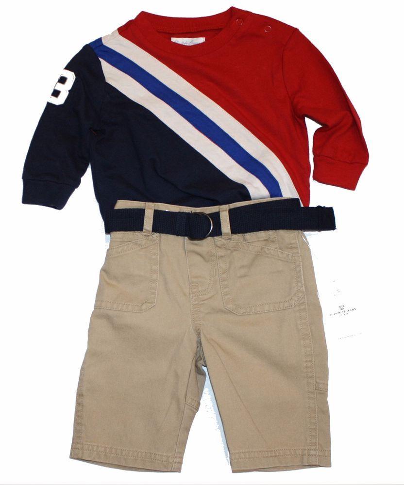 711aa27a7 NWT Ralph Lauren Polo Baby Boys Banner Striped Shirt   Pants Belt Set 3  Months  RalphLauren  Casual