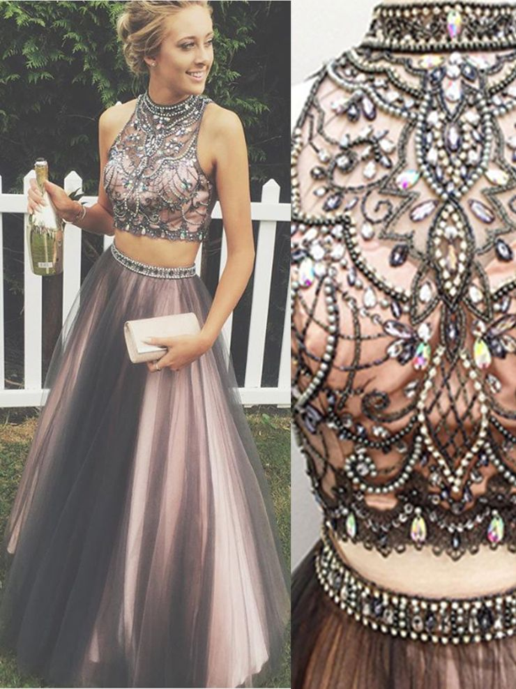 New Arrival Black Pink 2 Pieces Ball Gown Prom Dresses High Neck Beaded Two Pieces Evening Gowns Prom Dress Modest Cute Long Evening Dress Ball Gowns Prom Prom Dresses Modest Prom Dresses Ball