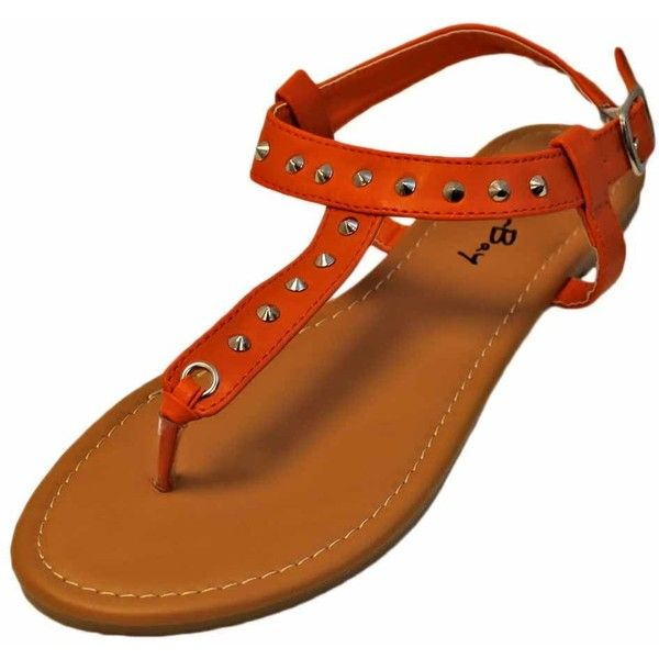 Orange Silver Studded Thong Flat Sandal Shoe ($9.49) ❤ liked on Polyvore featuring shoes, flats women, footwear, orange, wide flat shoes, silver strappy shoes, flat pointy shoes, wide shoes and silver flats
