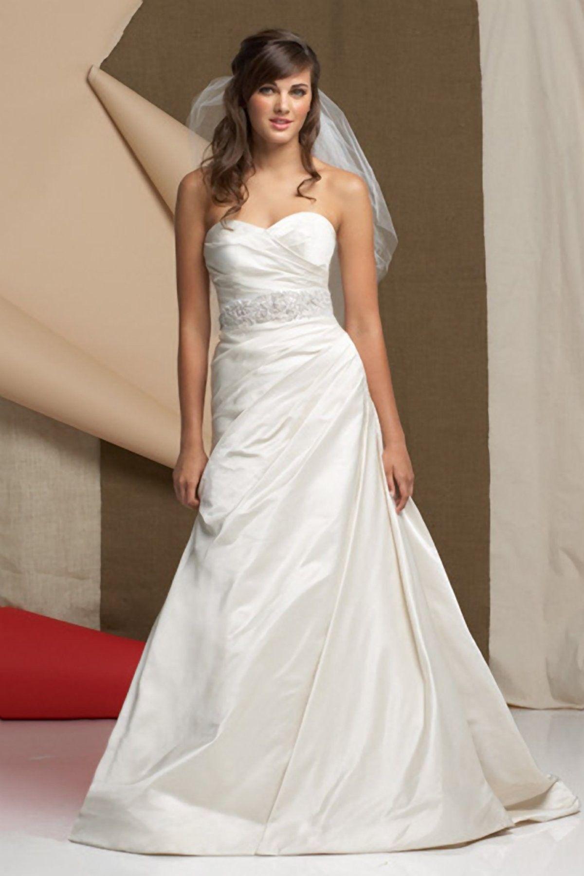 Satin strapless sweetheart draped bodice wedding dress a line