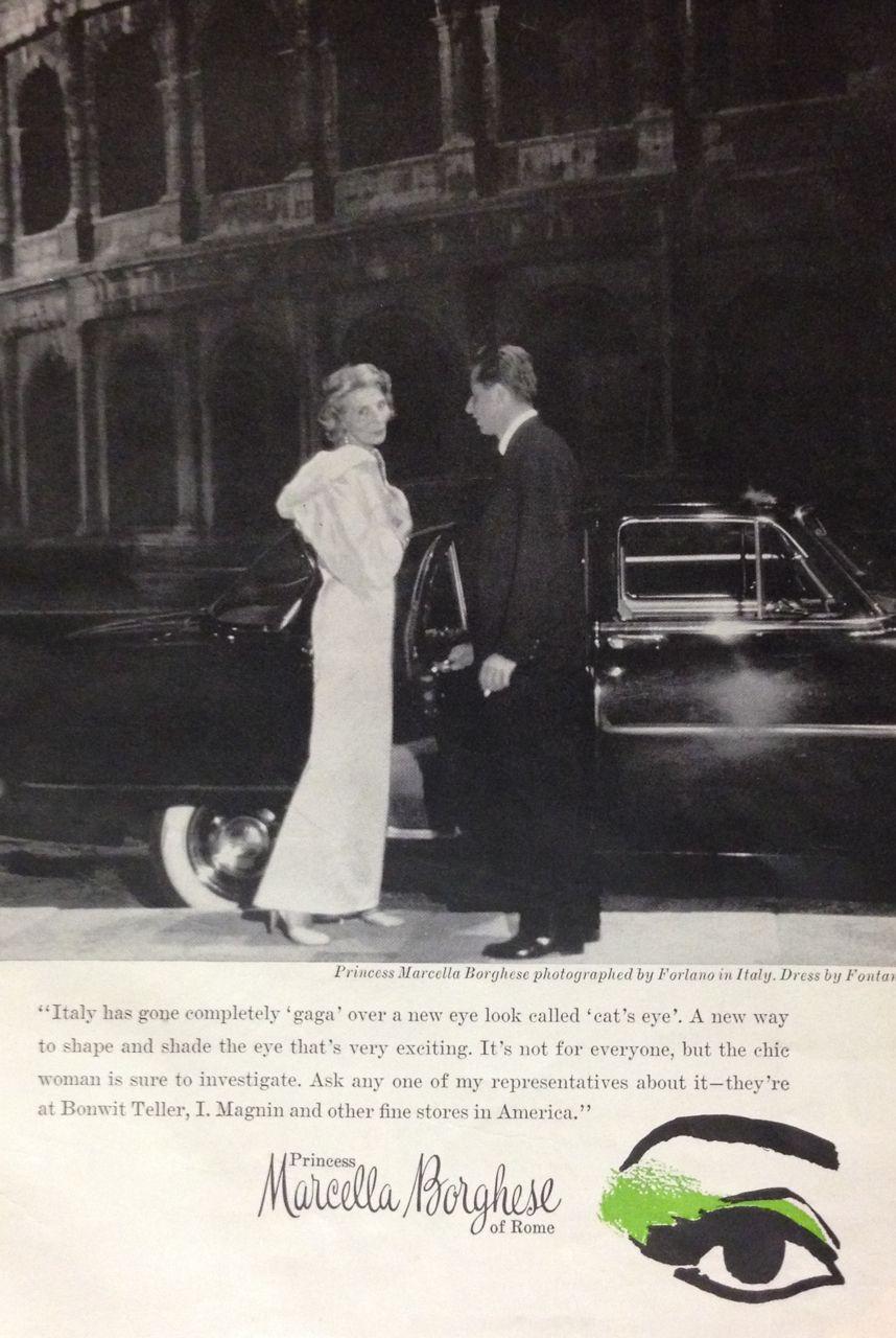 Princess Marcella Borghese 'cat' Eye' Makeup Ad 1959