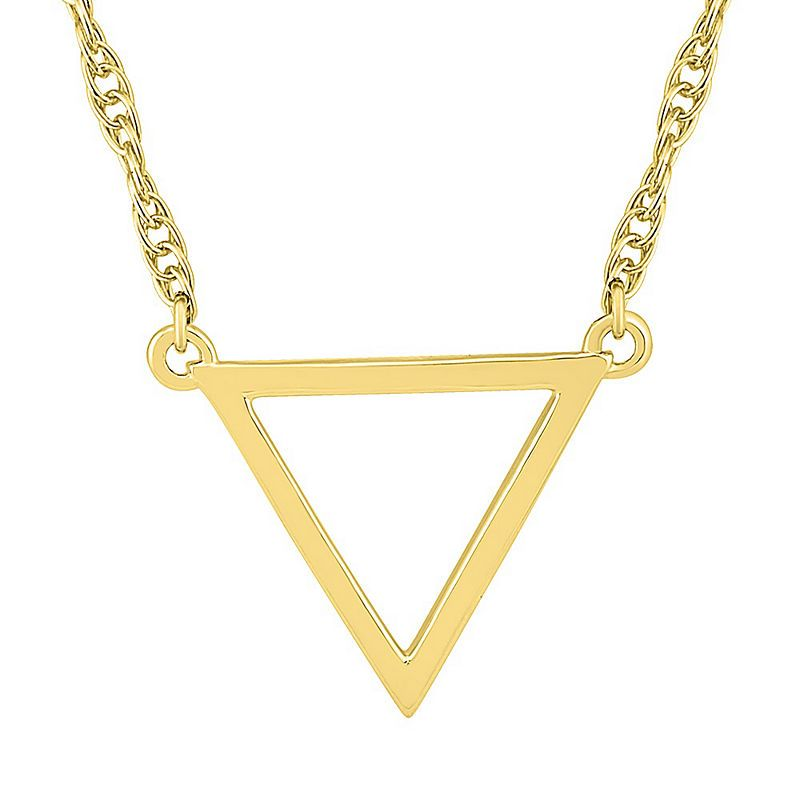 Womens 10k Gold Triangle Pendant Necklace 10k Gold Chain Gold Pendant