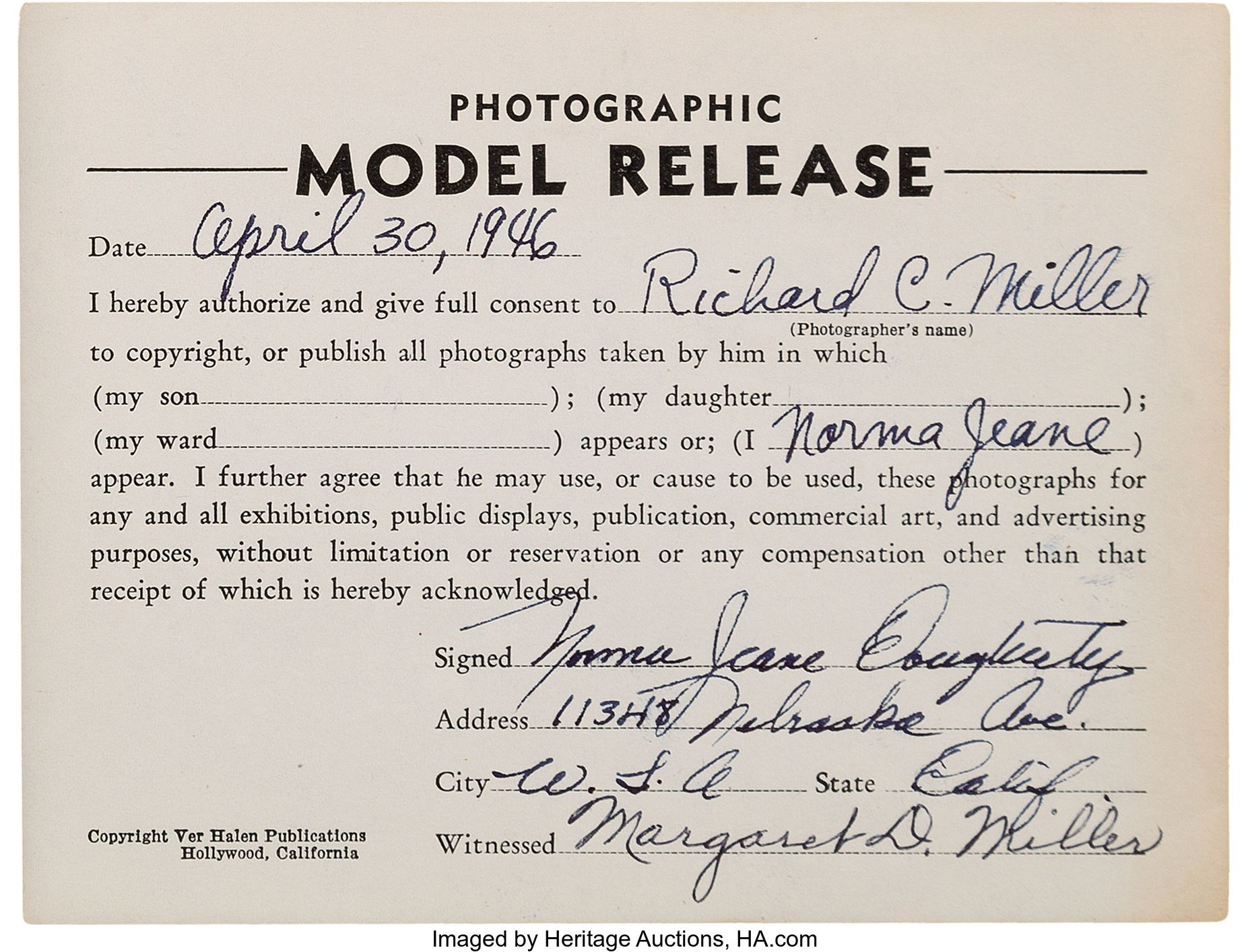 Model Release Form Signed By Norma Jeane For Richard Miller