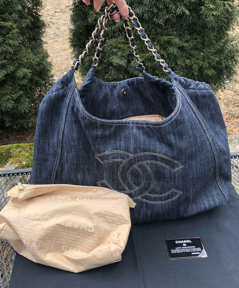 fc71fd4a33d41e Authentic Chanel XL Coco Cabas Denim with Pouch Excellent | Fashion ...