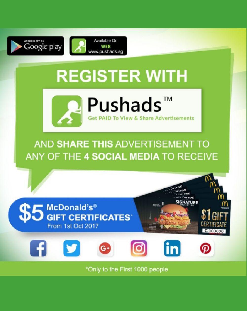 Download register to get a 5 mcdonalds voucher now