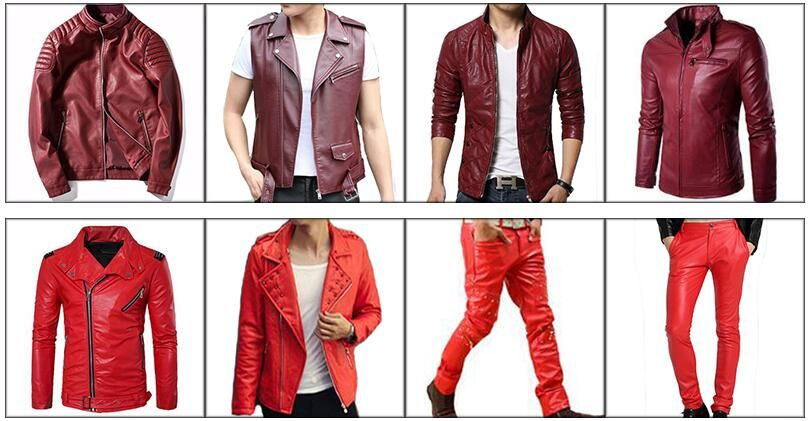 bde43b5a8 Mandarin Collar Fashion Slim Fit Wine Red Leather Jacket Men ...