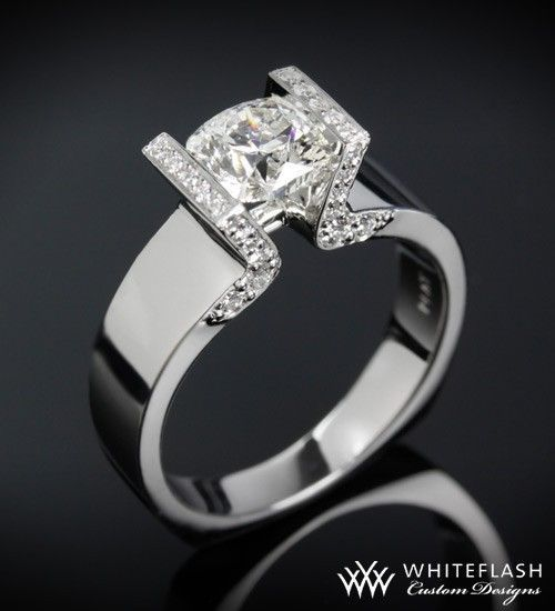 Whiteflash Tension Set Solitaire Diamond Engagement Ring