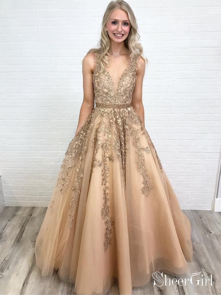 ca530e18c0 Lace applique ball gown prom dresses long. This vintage-inspired prom dress  features lace applique climb from the skirt to the bust and tiny rhinestone  on ...