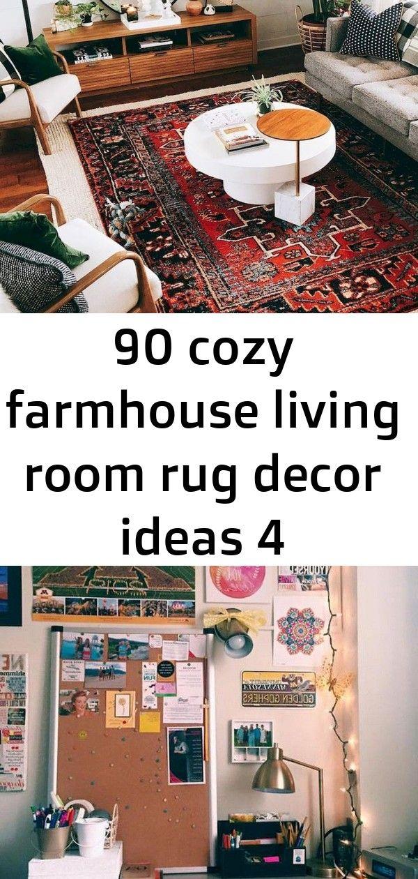 90 gemütliche Bauernhaus Wohnzimmer Teppich Dekor Ideen 4
